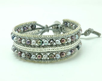 Grey freshwater pearl and box chain wrap bracelet.