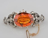 Spectacular large Madeira citrine and diamond rare Victorian brooch