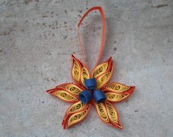Christmas tree ornament Yellow and orange Quilled decoration Paper quilling Holidays