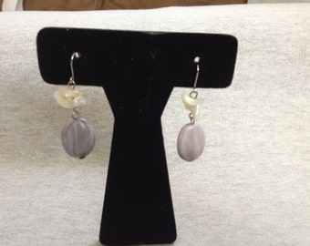 Vintage Costume Gray Marbled Beaded Dangle Earrings