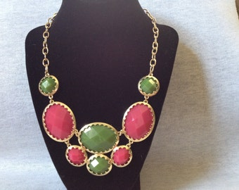 Vintage Costume Goldtone Necklace with Pink and Green Plastic Stone Inset