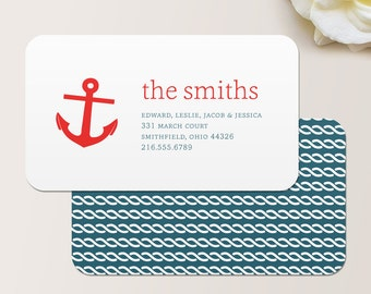 Anchor Nautical Business Card / Calling Card / Mommy Card / Contact Card - Family Calling Cards, Family Business Cards, Mom Business Cards