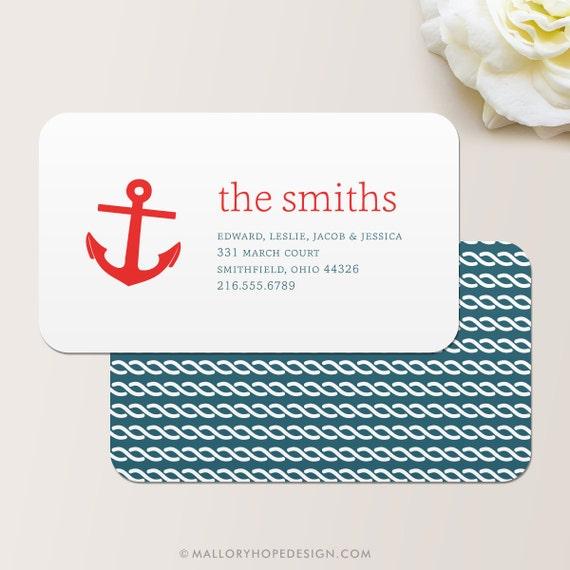 Anchor nautical business card calling card mommy card for Nautical business cards