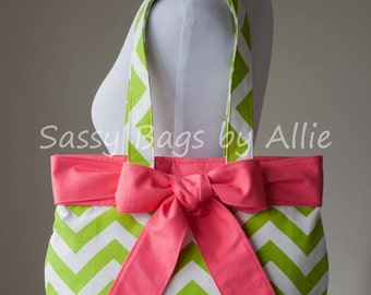 Chartreuse Chevron Handbag with Pink Bow-Lime Green Medium Canvas Purse-Premier Prints Zig Zag/Chartreuse