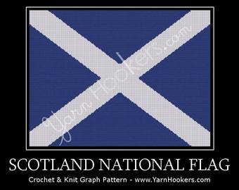 Scotland National Flag - Afghan Crochet Graph Pattern Chart - Instant Download
