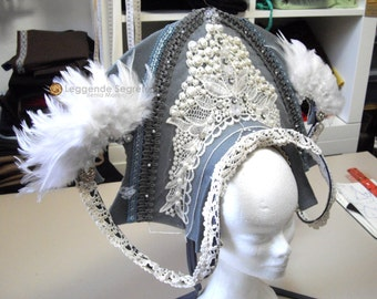 READY TO SHIP Oriental Princess headdress, Whimsical Fantasy Hair Style, Larp, Wiccan ritual wedding sorceress drag queen