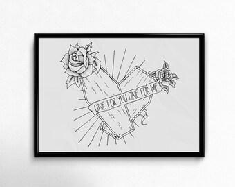 Original Hand Drawn Illustration - Two Coffins Against Me! Print