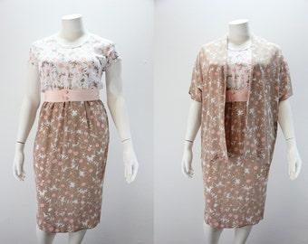 XL Vintage Dress and Jacket Contrasting Fabrics