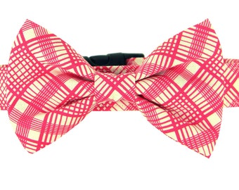 Pink Plaid Bow Dog Collar, Dog Bow Tie Collar: Pink Quartet