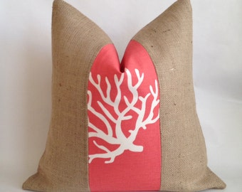 Coral Coral Fabric and Natural Burlap Pillow Cover 20x20
