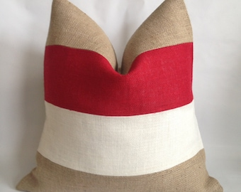 Red, White and Natural Burlap Striped Pillow Cover