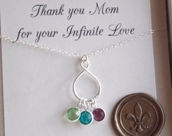 Infinity Mothers Necklace with Birthstones. mothers jewelry,grandmothers jewelry, new mommy,personalized, initial charms