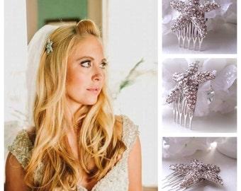 Starfish Rhinestone Hair Comb.  Everyday, Bridal, Wedding.
