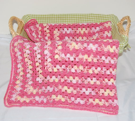 Crochet Granny Square Blanket for Baby in Pink, Yellow and White ...