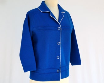 Vintage Mod Cardigan Sweater  --  60s Retro Scooter Girl Blue Knit   --  M / L