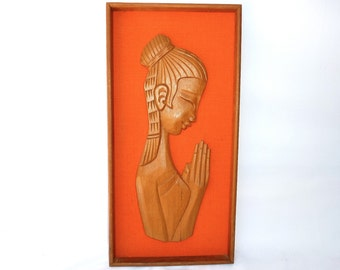 Mid Century Carved Wood Wall Hanging - Framed Namaste / Praying Woman on Orange Burlap