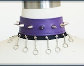 Purple Spikes and Chains Vegan Leather Choker, Necklace, Cynt D B