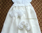 Linen crochet christening dress, headband and shoes for the baby girl and toddlers