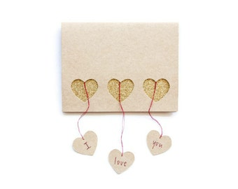 Anniversary Card: Laser Cut Hanging Hearts--custom text + color