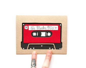 Valentine Card: Laser Cut Custom Mix Tape--Anniversary--Valentine's Day--custom color + message