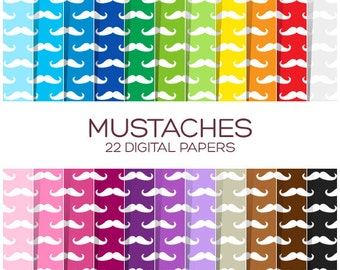 Mustaches Digital Paper Pack - Scrapbook Printable Party Background - Rainbow High Resolution Paper - P00144