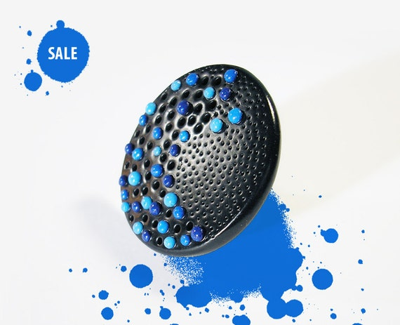 """SALE 40% OFF / Art Jewelry / OOAK cocktail ring, black ring, statement jewelry / """"Like a Star"""" /"""