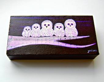 Owl Painting, Owl Family, Woodland Art, Bird Illustration, Mixed Media Owls