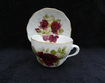 Tea Cup and Saucer: Hand decorated porcelain