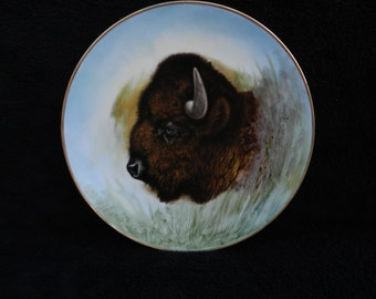 Vintage Plate: Majestic Buffalo Hand Decorated Porcelain