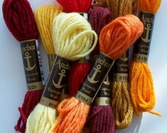 "SALE--Anna Maria Horner TAPESTRY WOOL ""Firelight"" package of 8 shades Tapisserie Wool"