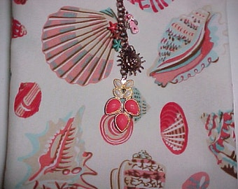 "Crossbody Hipster Bag ""CORAL BEACH""   Reversible Washable  Sling Purse with Keychain / Bagcharms"