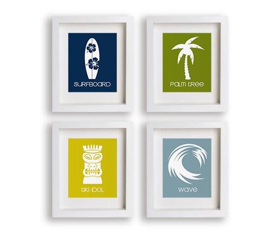 Surfer Nursery Art Prints - Nursery Decor, Nautical, Surf, Beach Decor, Modern Kids Wall Art, Kids Bedroom Decor, Baby Grils Room, Boys Room