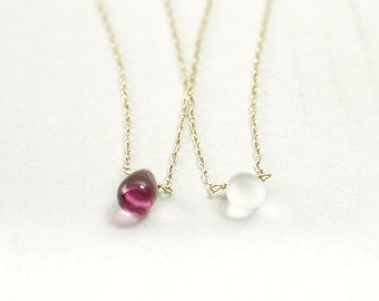 Tiny teardrop gold necklace - amethyst frost clear - delicate dainty gift jewelry