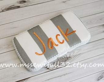 Custom Gray Stripes Diaper Wipes Case