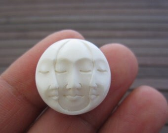20mm Gorgeous Hand Carved Three Face Cabochon with closed Eye, Bone Component, Cabochon for Setting B4170