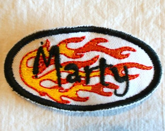 Hot Rod Flames Name Patch Custom made with the name and color of your choice Orange Black Red