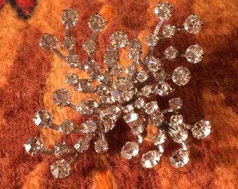 Sale - Vintage Rhinestone Snowflake Brooch
