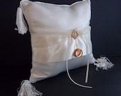 Ring Bearers Pillow - Wedding Ceremony Accessory - Bride and Groom Rings -  Rhinestone Satin Center  - White Fringed Corner Tassles - Decor