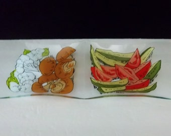 Good Vegetable Platter   Glass Serving Tray   Signed   Permanent Design   Hand  Painted Imposed Art