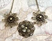 Bronze Filigree Steampunk Flower Necklace
