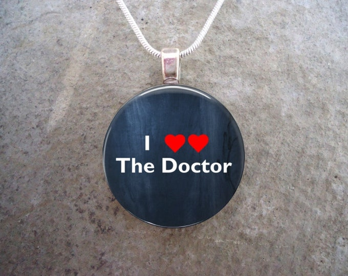Doctor Who Jewelry - Glass Pendant Necklace - I Love The Doctor - I Heart The Doctor - PRE-ORDER