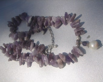 Amethyst and Freshwater Pearl Necklace 501.