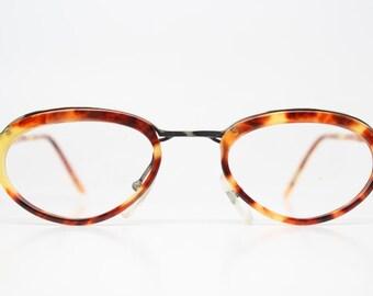 Unique Vintage Bronze & Tortoise Eyeglass Frames Retro Eyeglasses