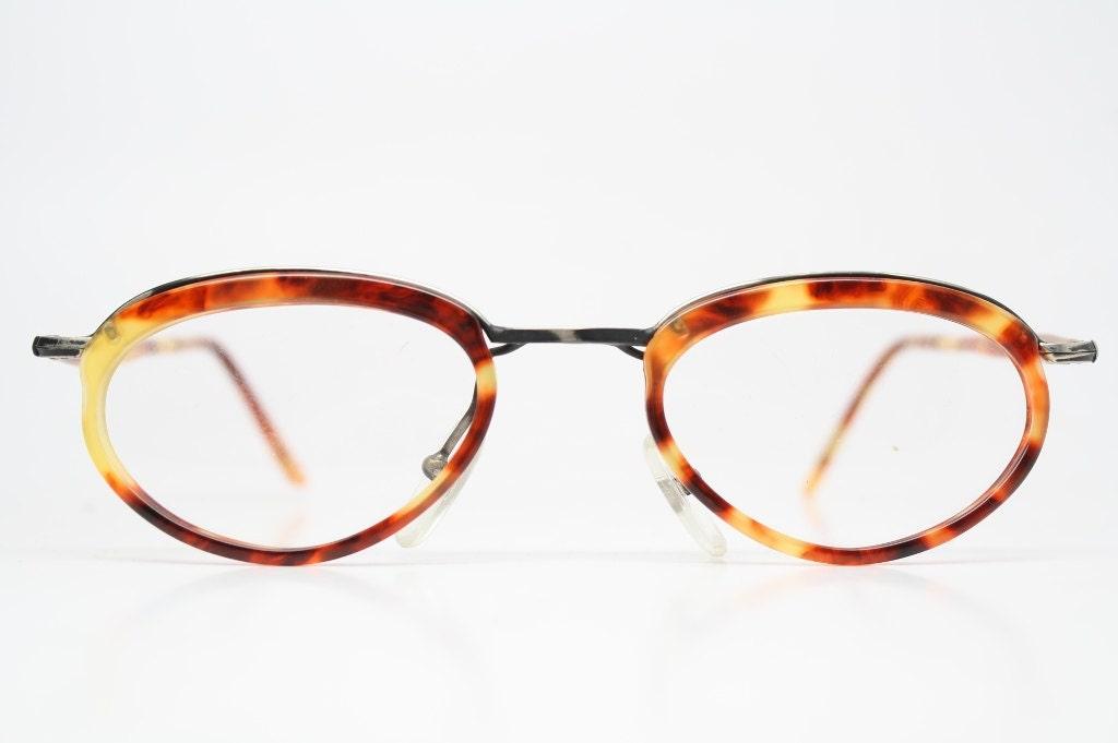 Eyeglass Frames Unique : Unique Vintage Bronze & Tortoise Eyeglass Frames Retro