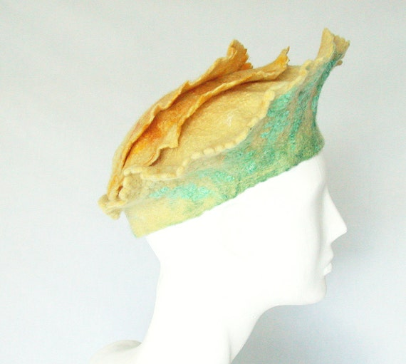 Womans Yellow Felt Beret - Felted Flower Hat with Ruffles - Spring Greens Crown