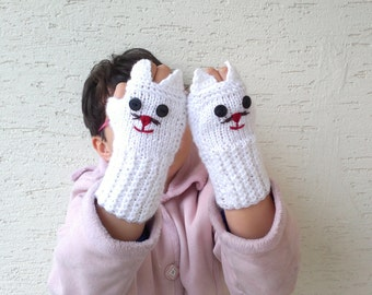 Knitted cat gloves, Childrens mittens, kids cat gloves, teenage fingerless gloves in white gift for her, gift for kids, kids clothing