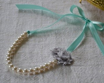 Rose: Ivory Pearl Necklace with Aqua / Robbin Egg Blue Ribbon, Gray Flower or Build Your Own