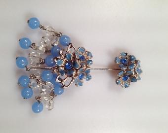 Vintage BEADED Stickpin Lapel Pin Hat Pin Hat Ornament Austrian Crystal Glass Beads Enamel and Rhinestones 1960s