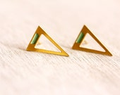 gold stud, triangle earrings: geometric triangle earrings with a hint of mint color at the top.