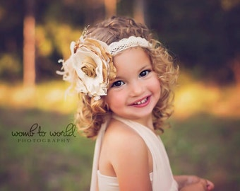 Gorgeous Cream,  Ivory and Tan Gold Handmade Flower Headband or clip with Pearls, Silk Bow, Handrolled Silk Rosettes, Lace, Crystals,